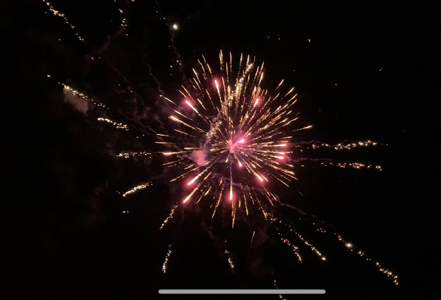 A photo of pink fireworks