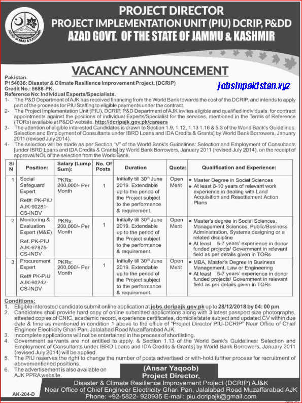 Advertisement for AJK Jobs December 2018