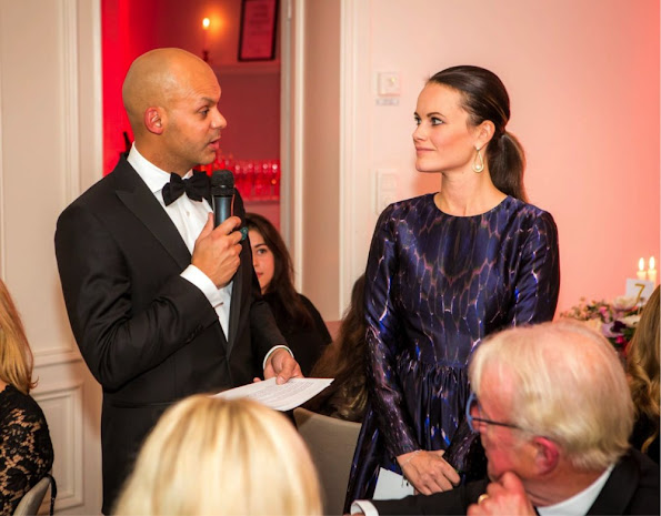 Princess Sofia Hellqvist wore a dark blue By Malina Meryl dress at the donation dinner for Project Playground.
