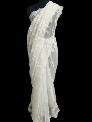 White Lucknowi Saree