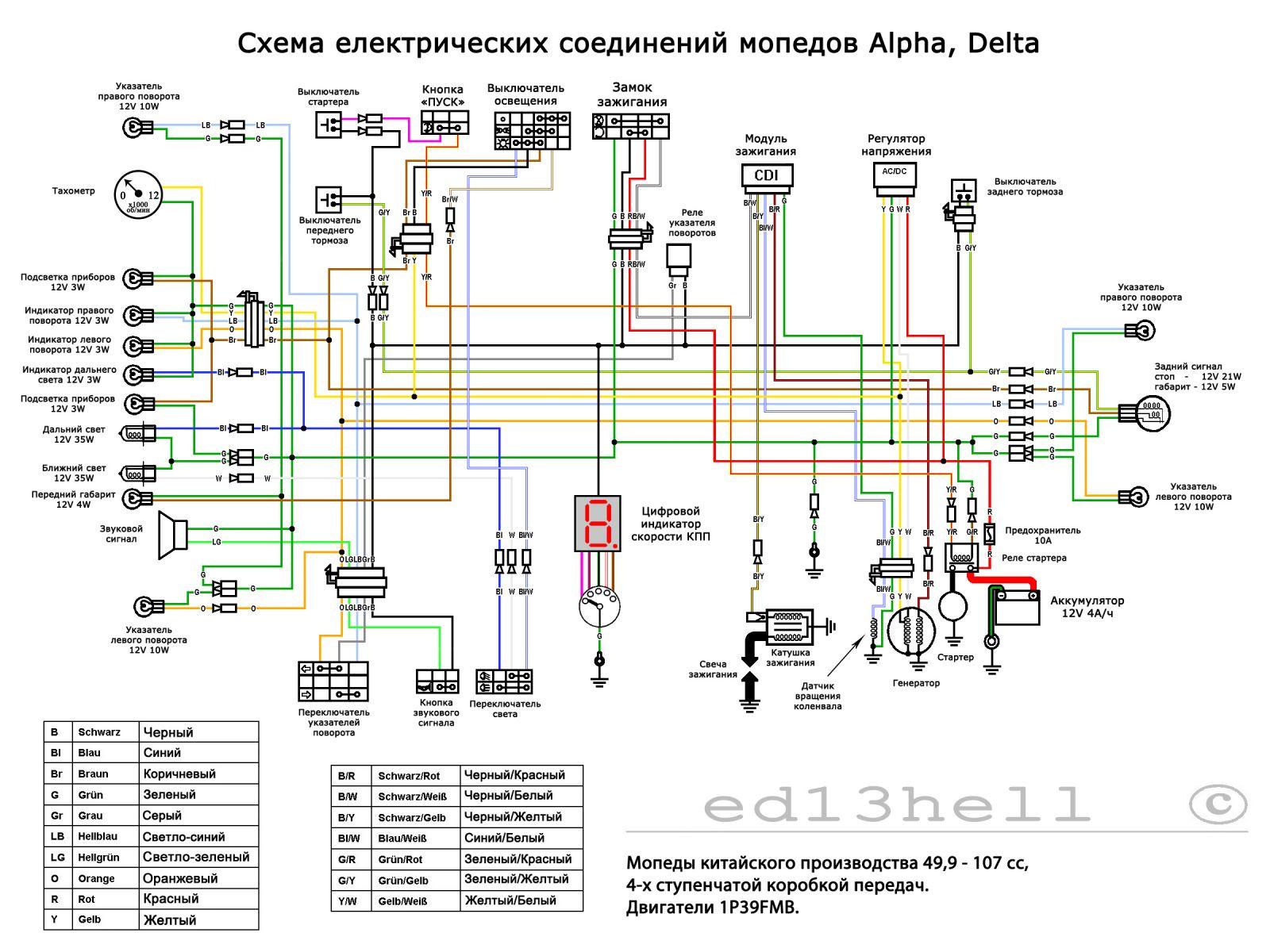 электросхема проводки мопеда альфа ,delta charmop ...