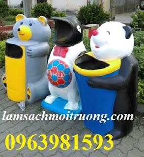 Thùng rác hình con thú, thùng rác con cá heo, thùng rác con gấu giá rẻ