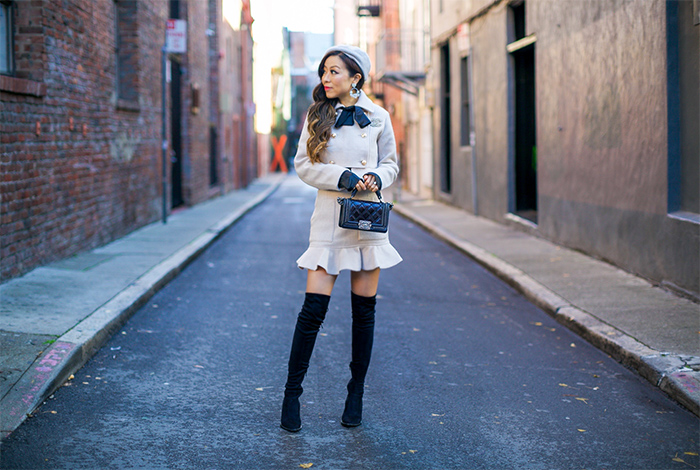 storets Emily Classic Jacket Skirt Set, matching set, over the knee boots, chanel boy bag, baublebar earrings, chanel brooch, san francisco fashion blog, san francisco street style