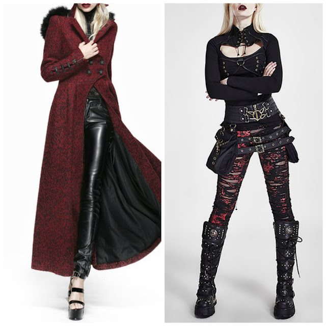punk rave goth coat winter fall alternative visual kei pants