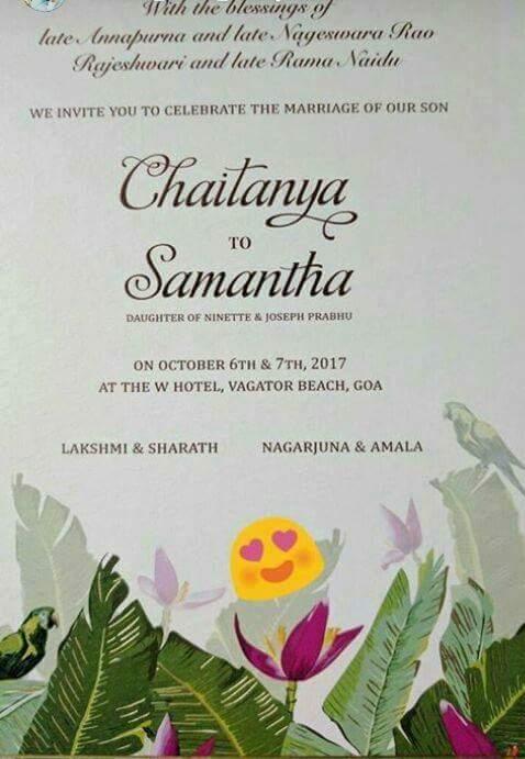 samantha naga chaitanya wedding card