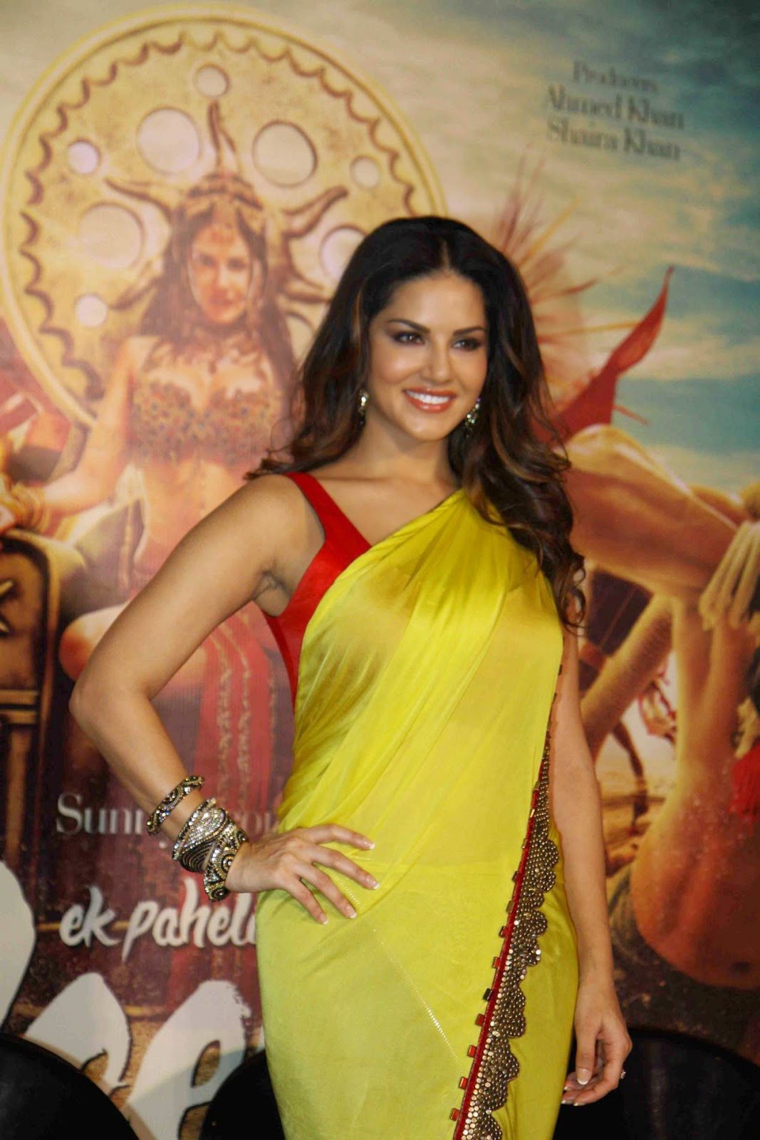Actress Sunny Leone Latest Cute Hot Saree Navel Show Spicy Photos Gallery At Ek Paheli Leela Movie Trailer Launch
