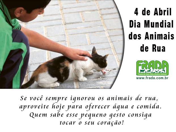 5dd97ab51e ... 4 de abril é comemorado o Dia Mundial dos Animais de Rua. No dia 4 de  outubro se comemora o dia de São Francisco de Assis