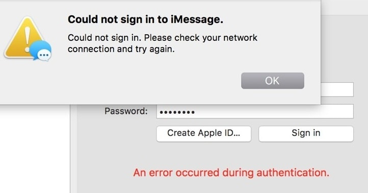 iMessage activation error on Mac - An error occurred during