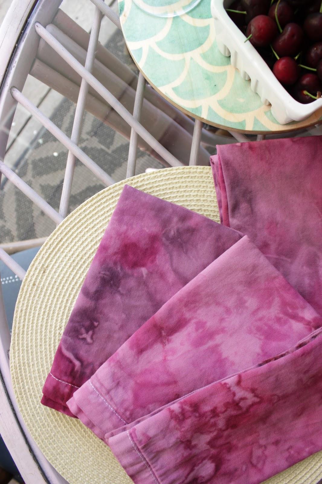 Ice dyed napkin tutorial