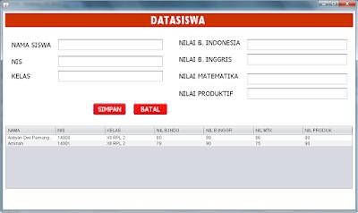ketika tombol ok pada message box di klik, form bersih dan data sudah masuk tabel