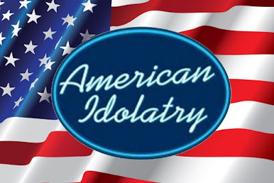 American Idolatry Logo against American Flag