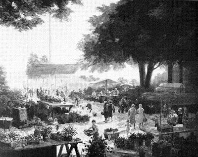 Mercado de Zúrich, óleo de Henry Grob