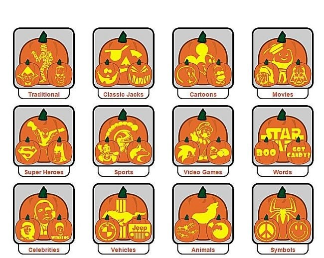 170 Top } Free Pumpkin Carving Patterns, Stencils and Templates