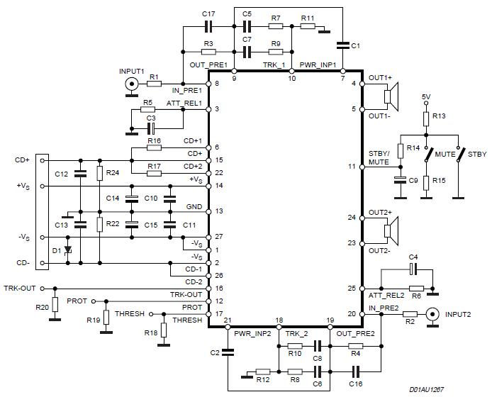 140w audio power amplifier circuit