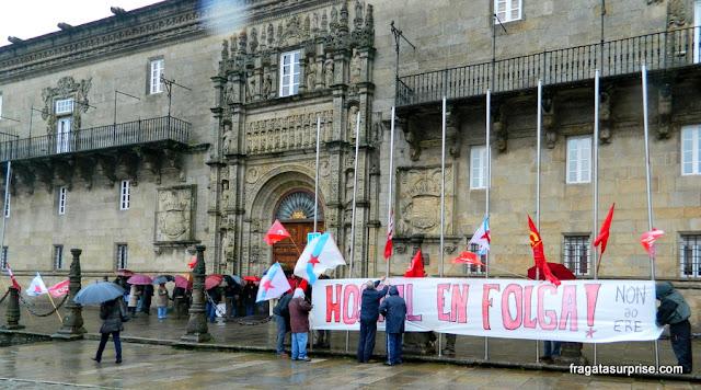Crise europeia - greve do Parador de los reyes Católicos, em Santiago de Compostela