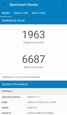 OnePlus 5 Geekbench Score is higher than Samsung Galaxy S8