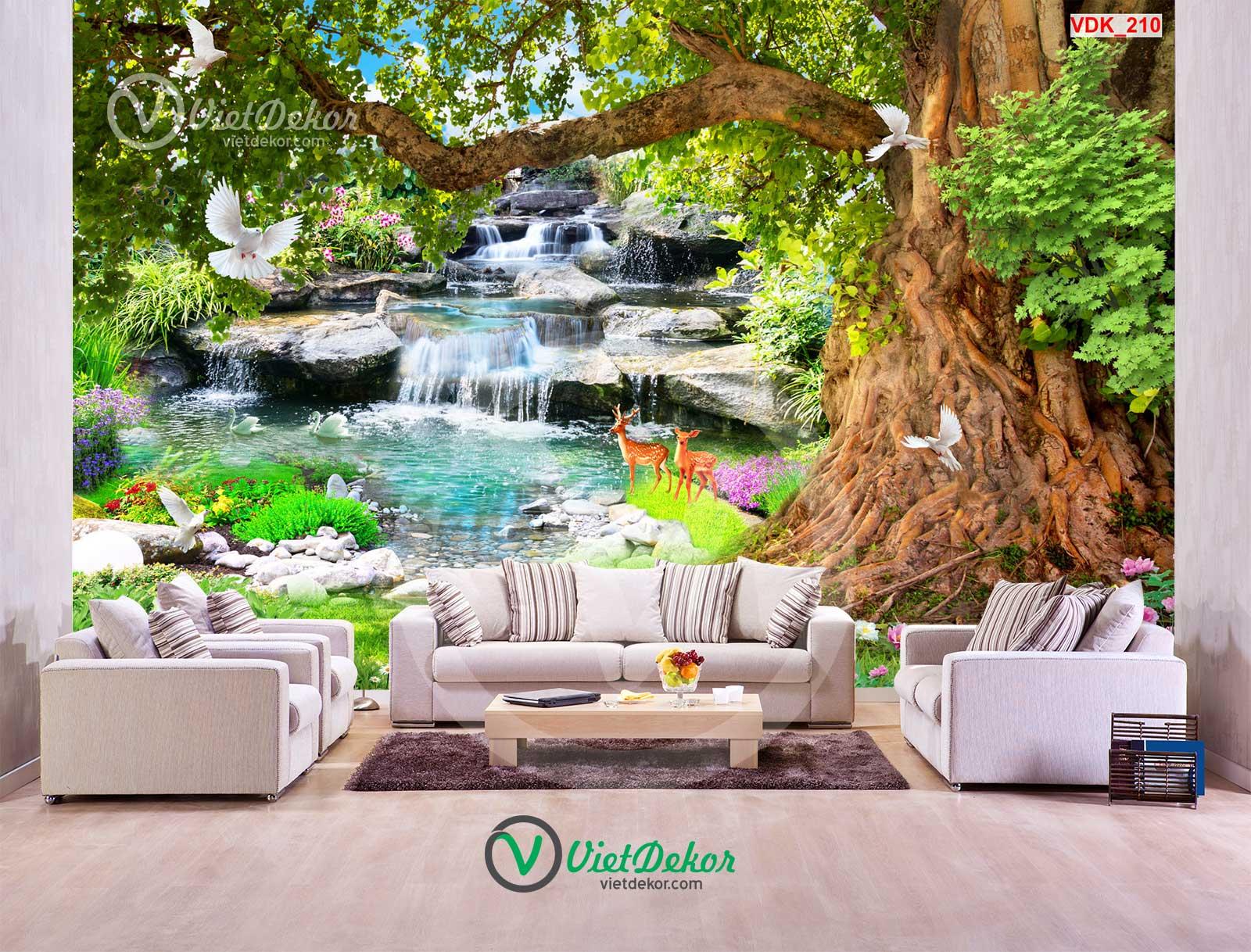 Tranh dán tường 3d thác nước cây lớn con cò