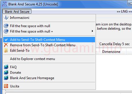 Blank And Secure opzione per aggiungere voce al menu Invia a