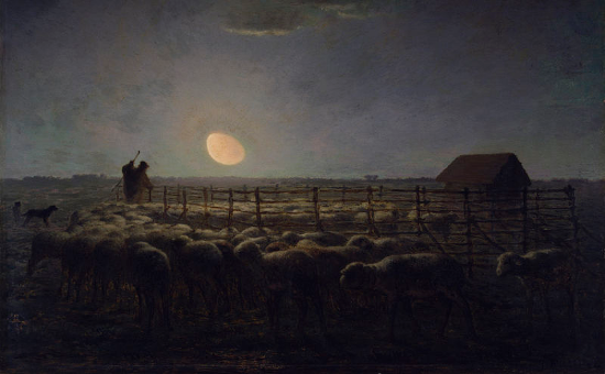 """The Sheepfold, Moonlight"" by Jean-François Millet (1856 - 1860)"