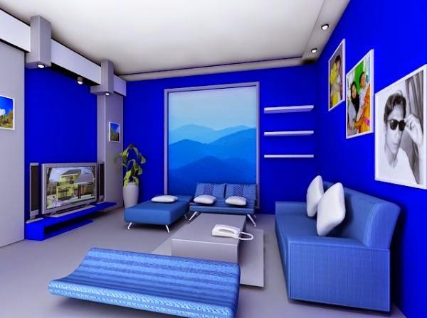 Gambar ruang keluarga sederhana dengan warna biru cerah