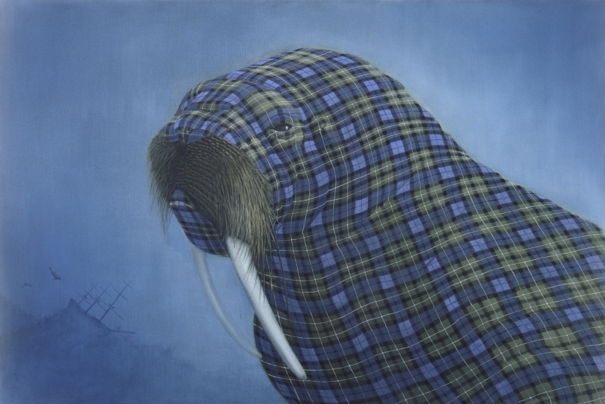 07-Lamont-Sean-Landers-Paintings-of-Animals-that-Swap-their-Fur-for-Tartan-Coats-www-designstack-co