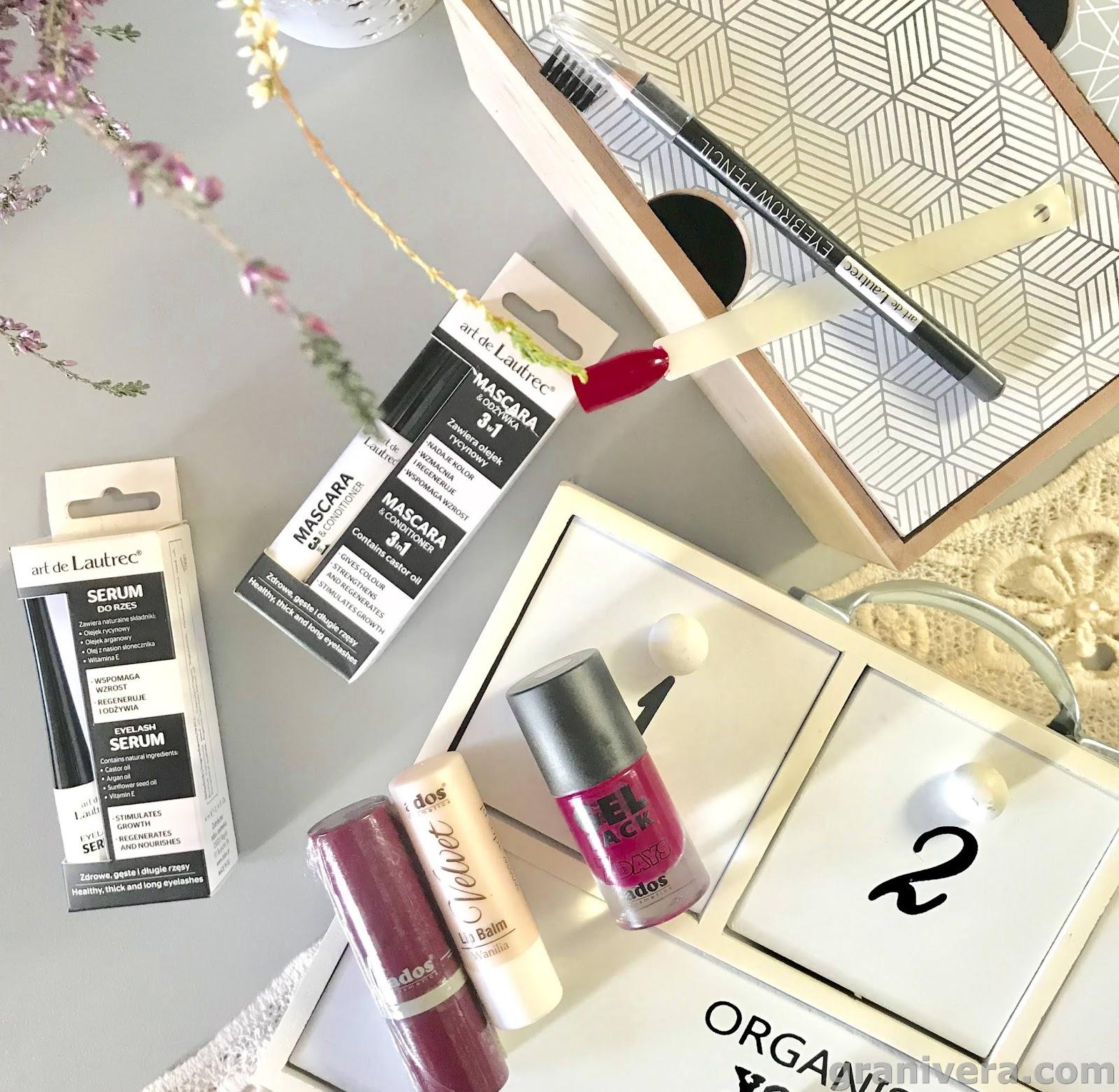Kilka słów o produktach marki  Ados i Art de Lautrec / mascara, serum, pomadki i kredka do brwi