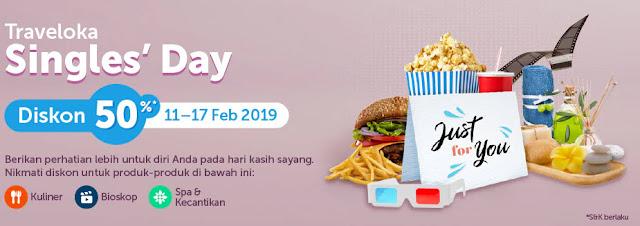 #Traveloka - #Promo Single's Day Diskon 50% Kuliner , SPA & Kecantikan, Tiket Bioskop (s.d 17 Feb 2018)