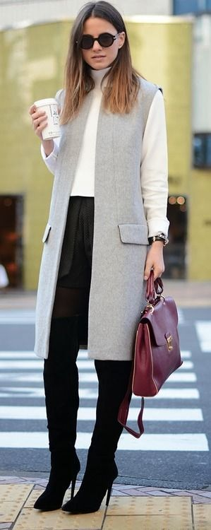 street style: stylish winter work wear outfit with grey coat