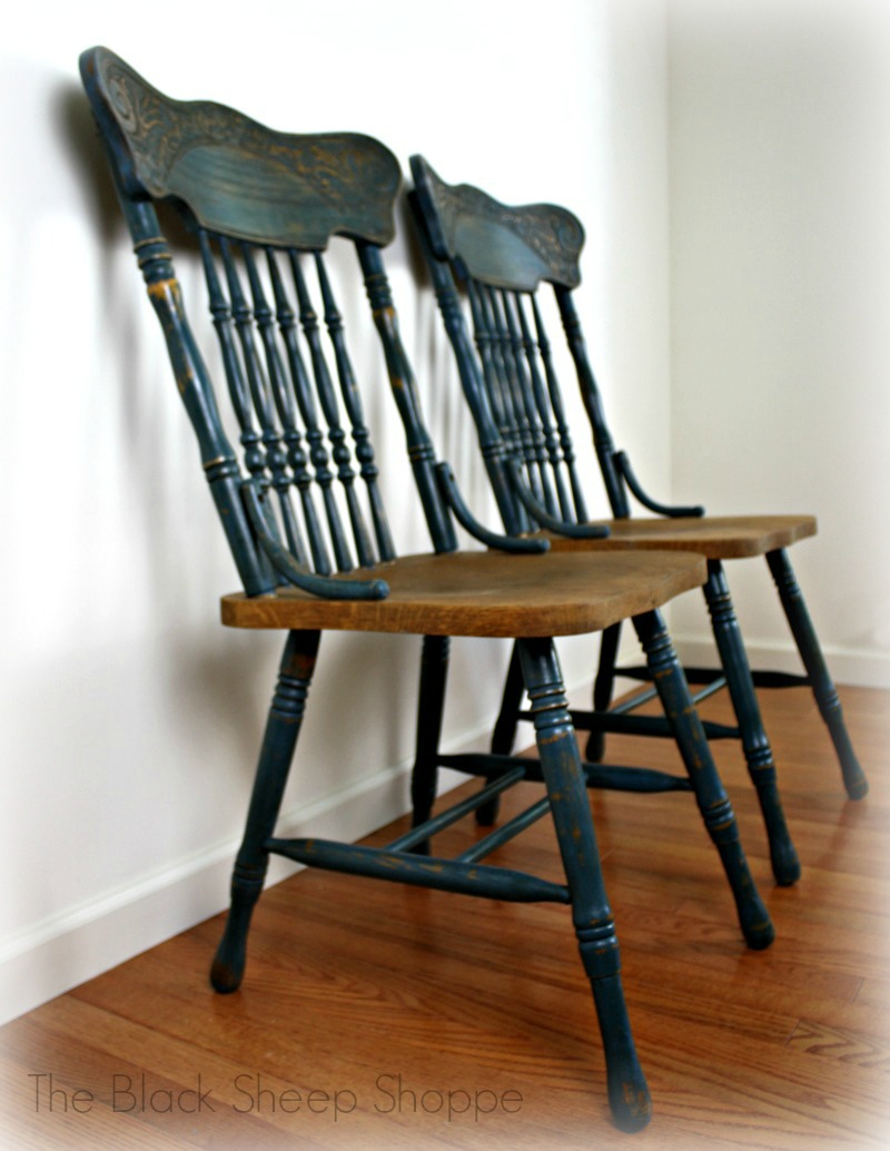 Pair of pressed back chairs painted in Aubusson blue.