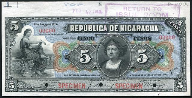 Currency Nicaragua 5 Pesos Banknote