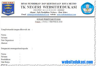 Contoh Surat Perintah Tugas (SPT) TK Tahun 2018/2019