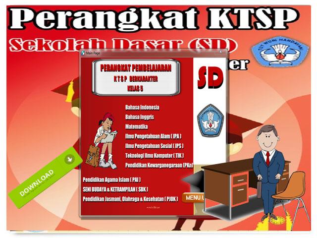 Perangkat Pembelajaran KTSP Berkarakter Kelas 5 SD/MI Lengkap Format Words