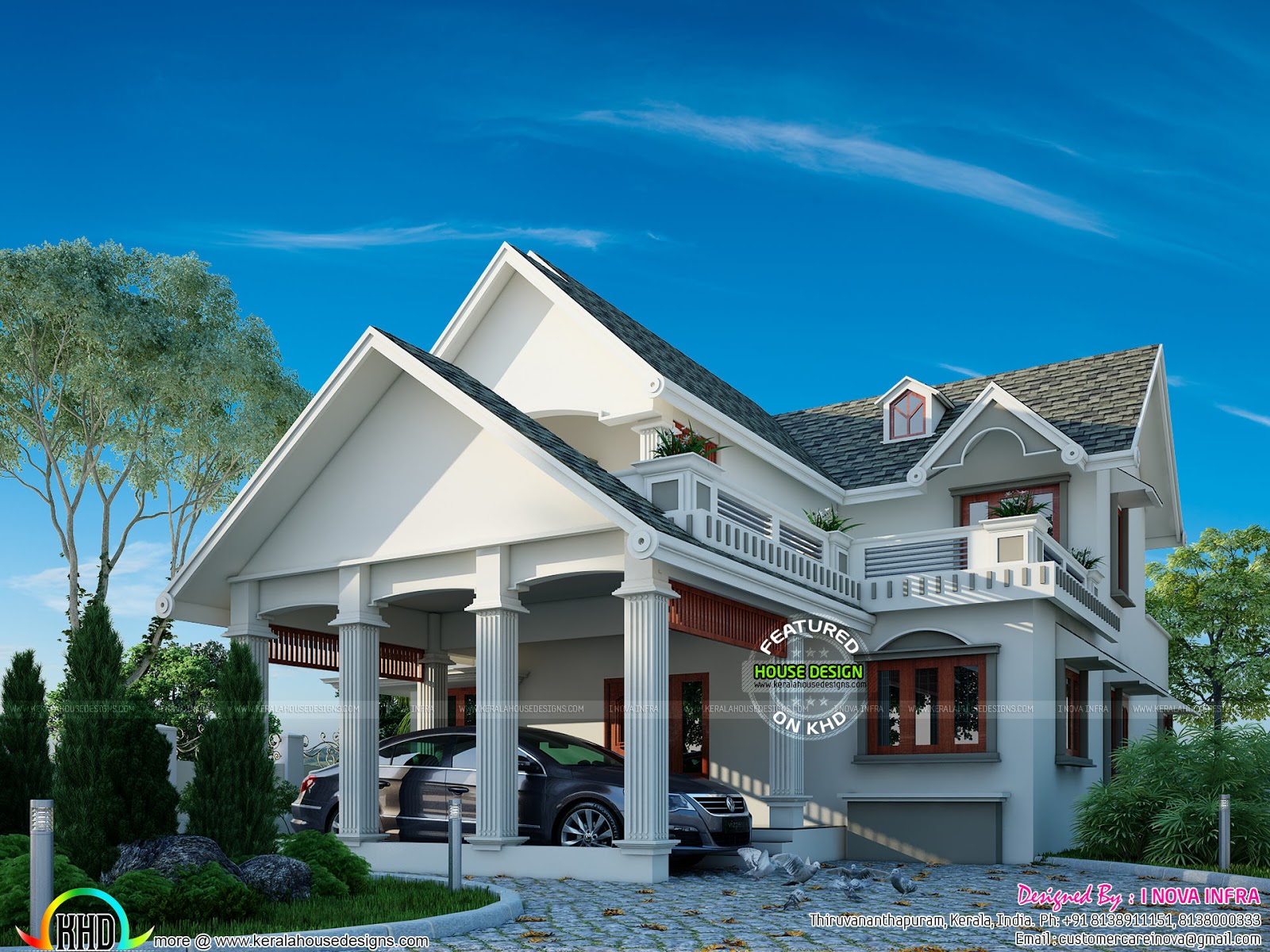 Graceful looking slope roof home plan kerala home design for Side sloping house designs