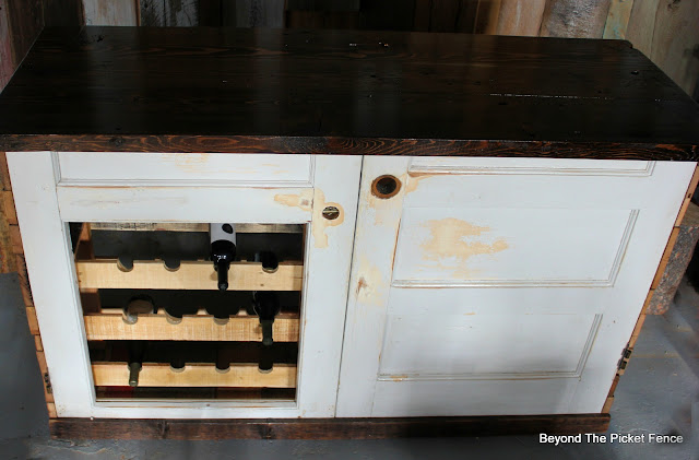rustic bar, old door, barnwood, wine rack, repurposed, build it, http://bec4-beyondthepicketfence.blogspot.com/2016/03/rustic-old-door-bar-diy.html