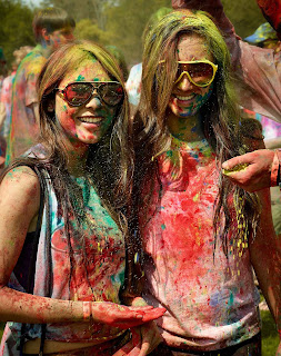Happy holi celebrate cute nice girl
