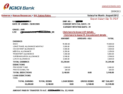 AM I Assistant Manager Band I ICICI Salary Slip Salary Details – Monthly Pay Slip
