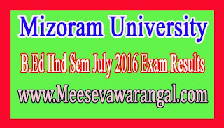 Mizoram University B.Ed IInd Sem July 2016 Exam Results