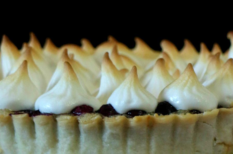 tarta-de-arándanos, almendras-y-merengue, blueberry-almond-tart