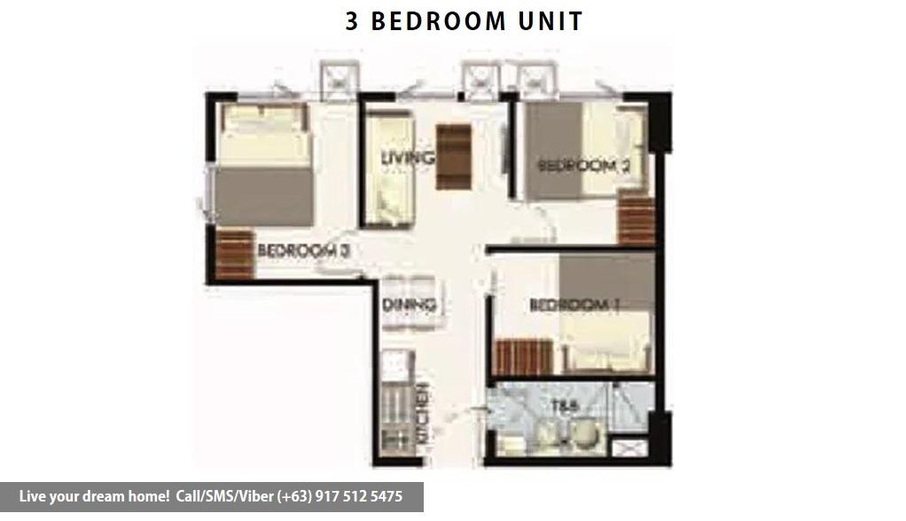 Floor Plan of SMDC Leaf Residences - 3 Bedroom Unit | Condominium for Sale Susana Heights Muntinlupa