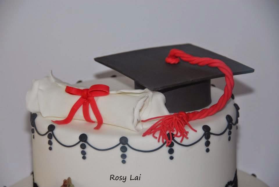 Super LE TORTE DI ROSY LAI: Torta laurea :tocco,pergamena,pizzo nero e rose SC77