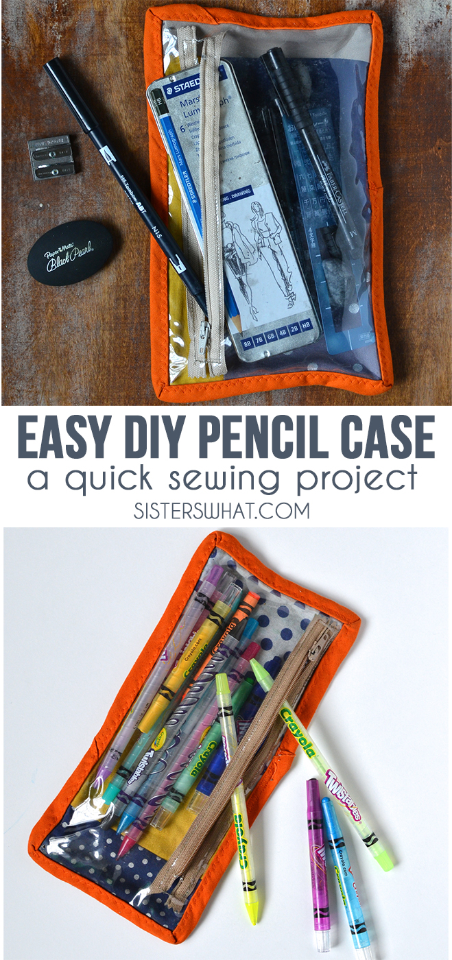 an easy DIY pencil case; a quick sewing pattern and sewing tutorial