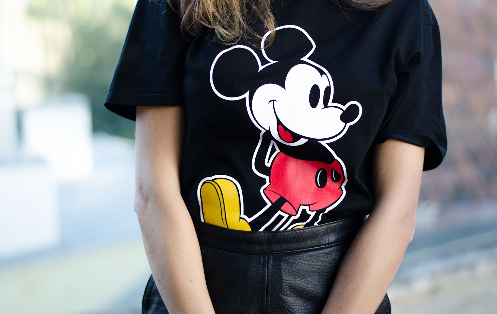 zara black mickey mouse tshirt