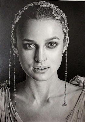 Retratos a lápiz de mujeres famosa  keira knightley
