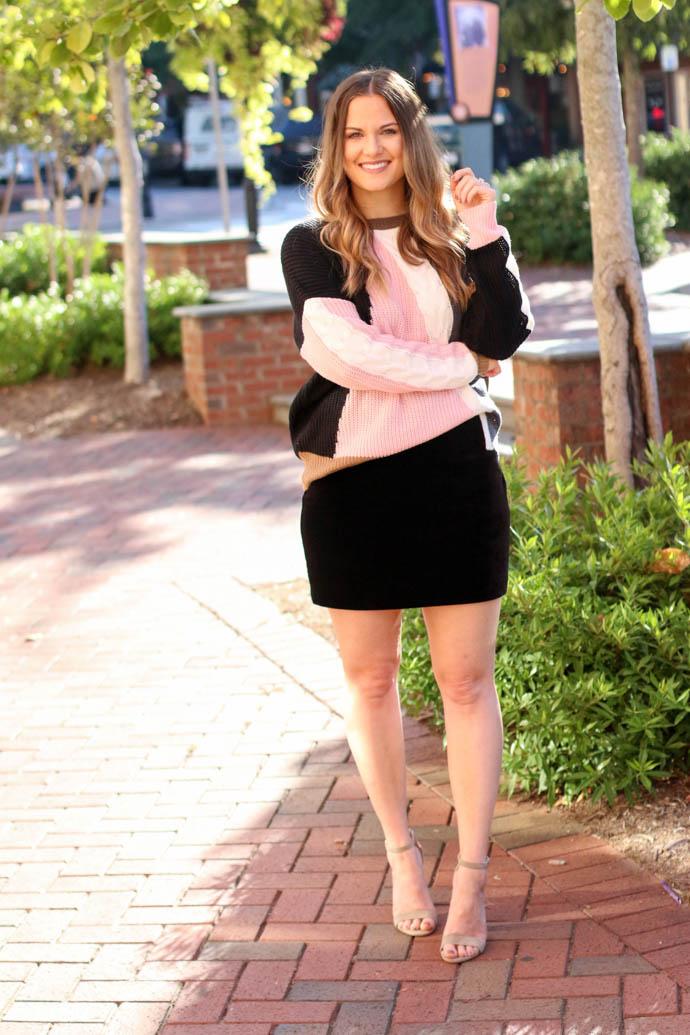 express velvet mini skirt