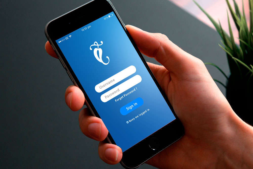 App Login Screen Design In Blue Color