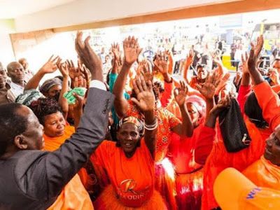 Raila Odinga supporters welcome him at JKIA. PHOTO | FILE