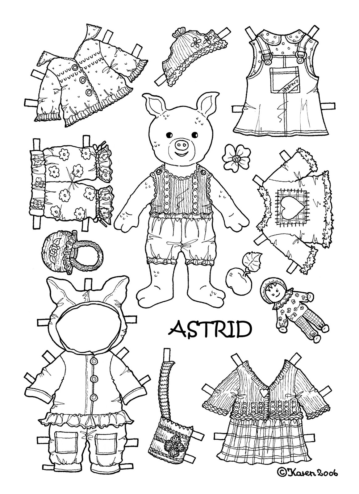 Karen s paper dolls astrid 1 2 paper doll to colour for Paper doll coloring page