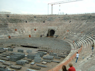 Stage construction under way at the Arena di Verona