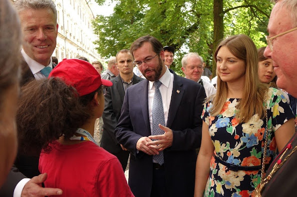 Hereditary Grand Duke Guillaume and Hereditary Grand Duchess Stéphanie visited the town of Lubiąż. Princess Stephanie ALEXANDER MCQUEEN floral dress