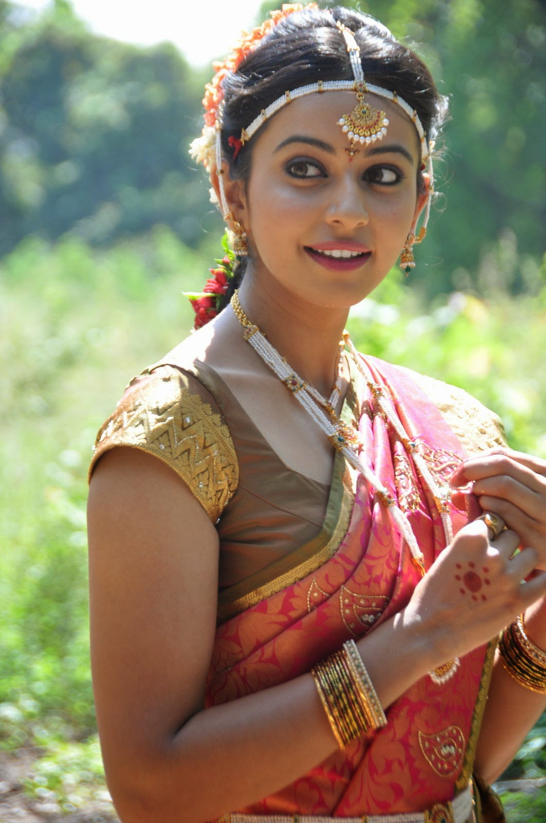Tollywood Hot Girl Rakul Preet Singh Photos In Traditional Red Saree